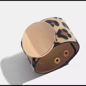 Leopard Bracelet with Gold Tone Medallion